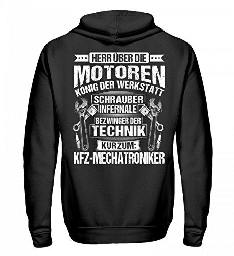 Shirtee Herr über die Motoren - KFZ-Mechatroniker - Geschenk - Geschenkidee - KFZ-Mechatronikerin - Unisex Kapuzenpullover Hoodie -M-Jet Schwarz