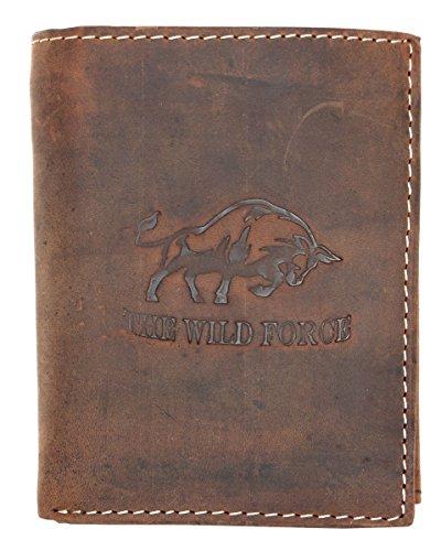 Natural fuerte cartera de cuero genuino The wild force con un toro