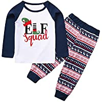 uBabamama Autumn Sale!!! 2Pcs Family Matching Christmas Outfits Long Sleeve Elf Letter Printed T-Shirt Tops Romper+ Long Pants Pajamas (White-Kids,2-3 Years/110)