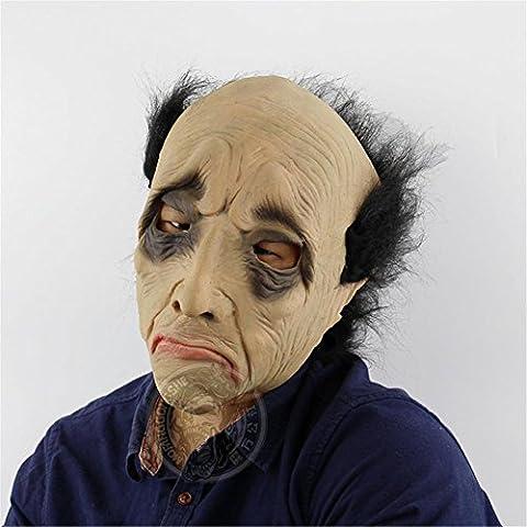 SQCOOL Halloween Ganzes Gesicht Maske Lustige Glatte alte Mann Kopf gesetzt Lustige Onkel Haunted Haus Horror Bar Make-up Tanz (Alte Frau Kostüm Diy)