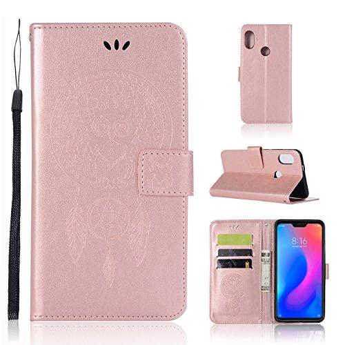 """Zchen Funda Xiaomi Redmi Note 6 Pro, Funda Piel con Tapa Suave TPU y Cuero de PU Tipo Libro Billetera Resistente a los Golpes Carcasa para Xiaomi Redmi Note 6 Pro 6.26"""" (Atrapasueños Búho-Oro Rosa)"""