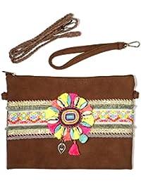 Boho-Clutch mit Schulterriemen und Handschlaufe - Ethno-Handtasche mit auffälliger Leder/ Stoff-Banderole und Perlen-Ornament