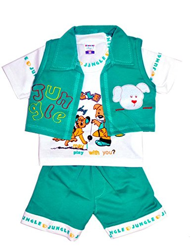 Generic Boy's Cotton Half-Sleeve Clothing Set (magic_012, Green, 6 Months-2 Years)