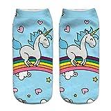 KiKa monkey Linda dibujos animados unicornio tobillo baja deporte corriendo calcetines cortos (M)
