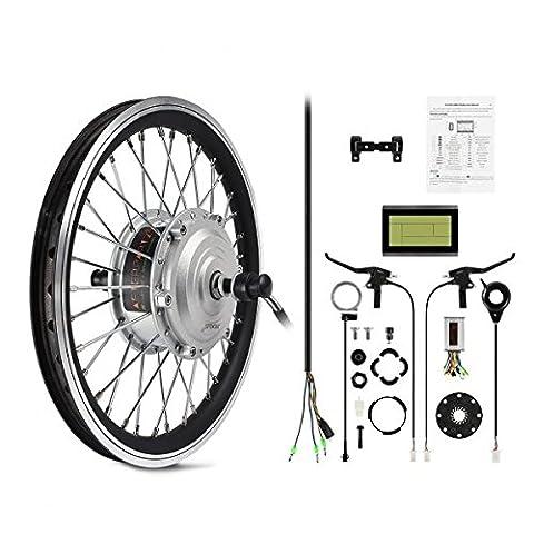 AFTERPARTZ® Electrique Byclette Moteur Kit Conversion électrique LCD roue avant Pedelec 36V 250W de conver e-vélo