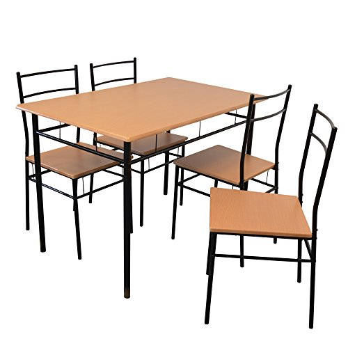 519no49YDbL. SS500  - Harbour Housewares Rectangular Wooden Kitchen Dining Table with 4 Matching Chairs - Modern 5 Piece Set - Black