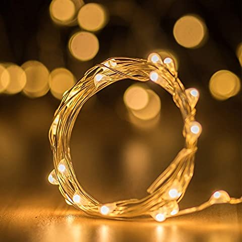 LOPOO Lichterkette Warmweiß LED String Kupferdraht Leucht 100er Dekoration Beleuchtung