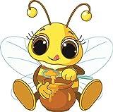 U24 Aufkleber Biene mit Honig Autoaufkleber 20 x 20 cm Sticker Konturschnitt