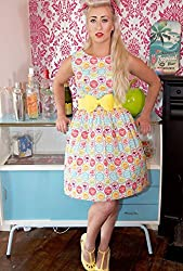 1950s Style Pink Pop Soda Print Ladies Dress - Silly Old Sea Dog - - Size 18