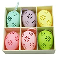 Gisela Graham Moulded Easter Eggs Box of 6 Yellow, Pinks, Purple, Green and Blue