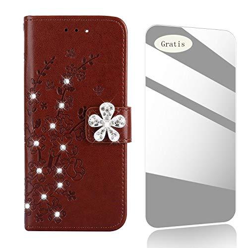 THRION Huawei P20 Lite Funda, Patrón de Flor de Diamante PU Cuero...