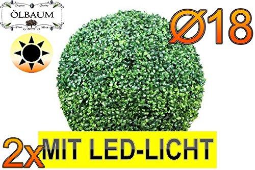 2X Buchsbaum mit LED-Lichtband kleine Buchsbaumkugel Durchmesser 18 cm 180 mm grün dunkelgrün