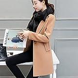 Xuanku In Der Lange Dünne Wolle Mantel Kleid Woolen Coat Slim, S, Rot Camel