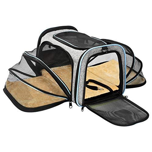 OMORC Hundetasche Faltbare Transporttasche Hunde für Reise Transportbox Hunde und Katzen mit Schultergurt und Tragegriffe Hundetragetasche mit weicher Hundekorb im Flugzeug, Auto oder in der Bahn