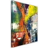 Feeby, Öl-Acryl Malerei, Künstlerische Wandbilder, 100% handgemalt, Deko-Bild , 60X80 cm, ABSTRAKTION, ORANGE, GELB