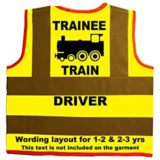 Trainee Train Driver Baby/Children/Kids Hi Vis Safety Jacket/Vest Size 2-3 Years Yellow Optional Personalised On Front