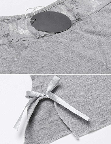 ADOME Damen kurz Nachthemd Sexy Negligee Nachtwäsche Babydoll Nachtkleid Träger Sleepwear Dessous 2-tlg A Grau
