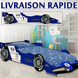 Lit enfant voiture F1 RACER Bleu lit enfant garcon auto chambre enfant