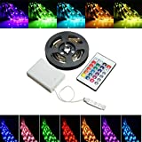 MASUNN Akku Powerot RGB Non-Wasserdicht LED Flexible Tape Rope Strip Light Kit + Ir Fernbedienung Dc5V-200 cm