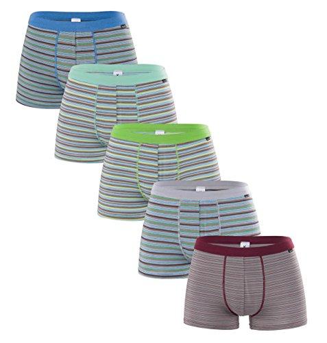 Knitlord Herren Bambus-Boxershorts, Ultra-weich und atmungsaktiv, gestreift, Boxershorts 5er-Pack (L, Bambusfaser)