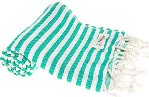 Bersuse 100% cotone - asciugamano turco malibu - certificato oeko-tex - peshtemal fouta per bagno e spiaggia - pestemal assorbente, ultra-morbido, asciugatura rapida - 95x175 cm, verde menta