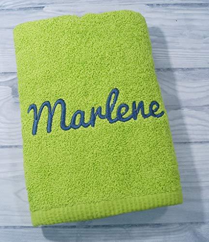 Handtuch mit Namen bestickt 100% Baumwolle Geschenk Badetuch 500 g/m2 50 x 100 cm (50 x 100 cm, Grün)