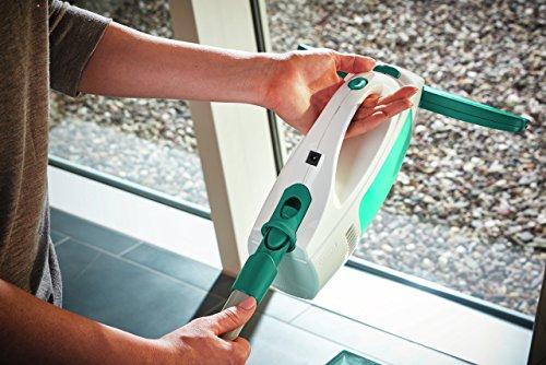 Leifheit Fenstersauger Set Dry & Clean mit Stiel & Einwascher für 360° streifenfreie Reinigung, Fensterreiniger verwendbar bis zu 35 min, Fensterputzer mit Stand-by-Automatik und Click-System