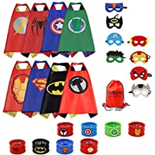 RioRand Dress Up Costumes Comics Cartoon 8 Satin Capes Set with 8 Bracelets and 1 Carrying Bag