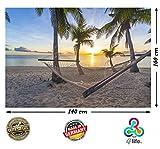 PMP-4life XXL Poster Strand Hängematte vor Sonnenuntergang am Meer HD 140cm x 100cm Hochauflösende Wanddekoration Natur Bild für Wandgestaltung Wandbild | Fotoposter Karibik Sonne Sommer Palmen | inkl. Kalender 2018