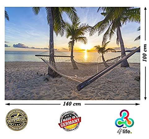 PMP-4life Wandbild Strand Hängematte vor Sonnenuntergang am Meer HD XXL Poster 140cm x 100cm Hochauflösende Wanddekoration Natur Bild für Wandgestaltung | Fotoposter Karibik Sonne Sommer Palmen | inkl. Türposter