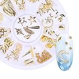 NICOLE DIARY Gold Nail Rivet Studs Star Moon Shell Anchor Manicure Nail Art 3D Arte de uñas Decoración en la rueda n. ° 2