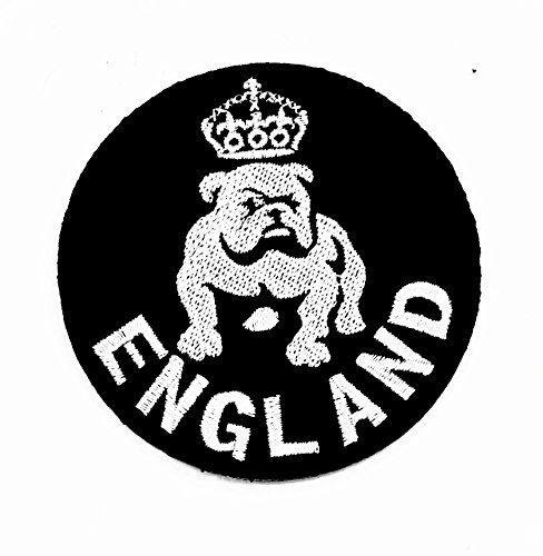 Gothic Hund Kostüme (rabana schwarz-weiss-England Pitbull Bulldog Dog Rider Biker Motorrad Patch Kinder Cute Animal Patch für Heimwerker-Applikation Eisen auf Patch T Shirt Patch Sew Iron on gesticktes Badge Schild)
