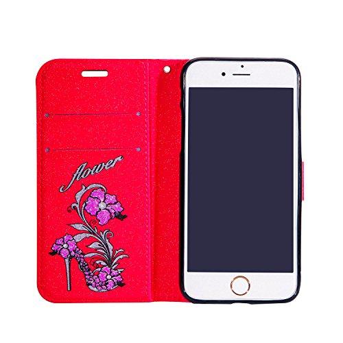 Hülle für iPhone 6 6S, Tasche für iPhone 6 6S, Case Cover für iPhone 6 6S, ISAKEN Blume Schmetterling Muster Folio PU Leder Flip Cover Brieftasche Geldbörse Wallet Case Ledertasche Handyhülle Tasche C Pumps Blumen Rot