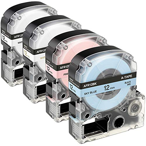 4 x Farbband LK (LC) Etikettenband Patronen Ersatz Epson LabelWorks LK-4LBK LK-4PBK LK-4WKK LK-4WBK für Epson LW-300, LW-400 LW-700, 1,27 cm x 4,4 m Rolle, Himmelblau/Pink/Weiß