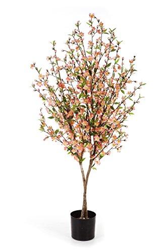 artplants Kunst-Kirschbaum ZADAR, weiß-orange-rosa Blüten, 663 grüne Blätter, 140 cm – Künstlicher Kirschbaum/Deko Baum