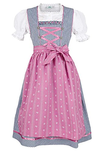 Isar-Trachten Mädchen Kinderdirndl Marine pink mit Bluse, Marine, 122