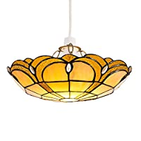 Tiffany Style Amber Jewelled Glass Uplighter Design Ceiling Pendant Light Shade - Complete with a 6w LED GLS Bulb [3000K Warm White] from MiniSun