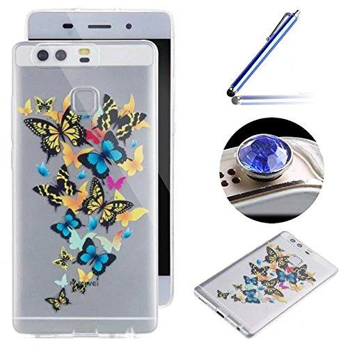 [Huawei P9] Silicone Coque,Souple TPU Coque Housse de Téléphone pour Huawei P9,Etsue Peinture Style Ultra Mince Souple TPU Silicone Case Cover pour Huawei P9 + 1x Bleu stylet + 1x Bling poussière plug (couleurs aléatoires) - Papillon