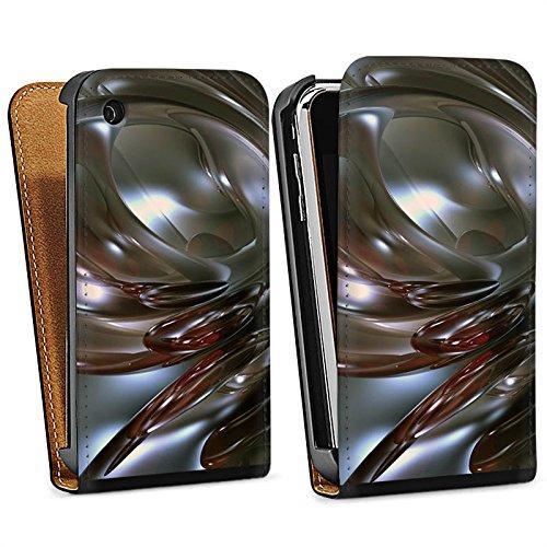 Apple iPhone 5s Housse Étui Protection Coque Chrome Chrome Chrome Sac Downflip noir
