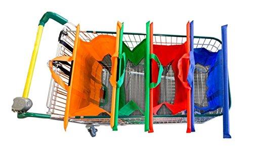 VAIIGO Set di 4 sacchetti da inserire nel carrello della spesa, Borse riutilizzabili per la spesa, colori assortiti