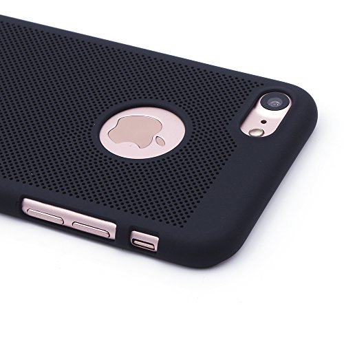 "iProtect Apple iPhone 7 Coque Rigide en Design ""Toile"" en doré IP 7 - noir"