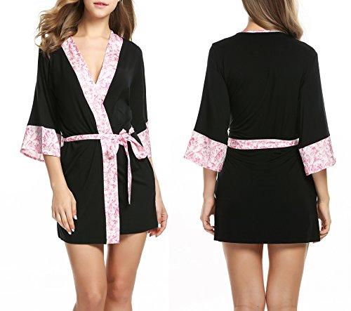 Ekouaer Damen Morgenmantel Kimono Robe Bademantel Negligee Kurze Nachtwäsche Saunamantel Nightwear Druck mit Taschen Schwarz und Rosa