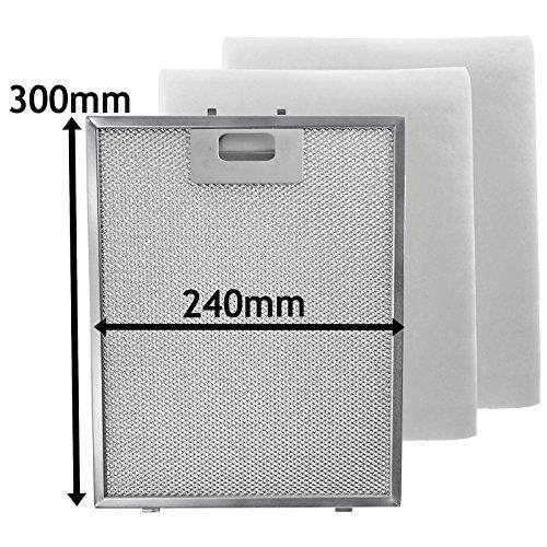 spares2go Universal-Dunstabzugshaube Metall Mesh Fett Filter für Küche Abluftventilator (Silber, 300x 240mm) - Küche Abluftventilator