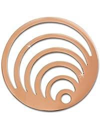 Adamello monedas de acero inoxidable-joyas, moneda de oro rosa de círculos - pieza para Adamello coin versión para mujer - acero inoxidable stainless steel ESC524E