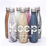 KAILH Vakuum Isolierte Edelstahl Trinkflasche, BPA Frei Wasserflasche Auslaufsicher, 500/750/1000ml Thermosflasche für Sport, Yoga, Outdoor, Büro, Kinder, Schule,...