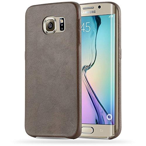 Preisvergleich Produktbild Cadorabo Hülle für Samsung Galaxy S6 Edge - Hülle in Vintage BRAUN – Hardcase Handyhülle Schutzhülle aus Kunstleder - Schutzhülle Bumper Back Case Cover