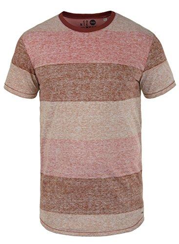 T-Shirt Kurzarm Shirt mit Streifen und Rundhalsausschnitt, Größe:L, Farbe:Wine Red (0985) ()