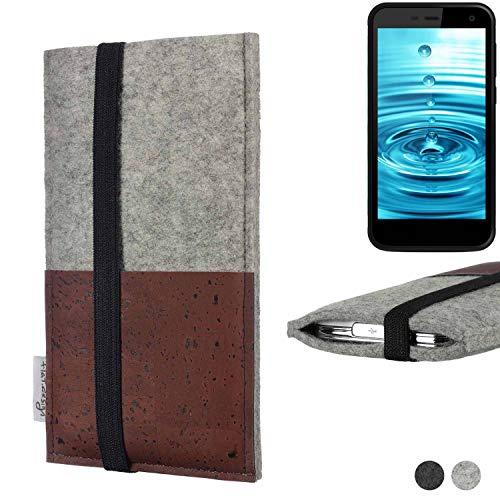 flat.design Handy Hülle Sintra für Energizer H500S Handytasche Filz Tasche Schutz Kartenfach Case braun Kork