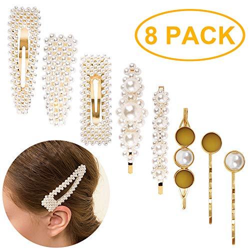 Juego de 8 pasadores de pelo de perlas artificiales doradas para novia, accesorios para el pelo hechos a mano para mujeres