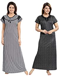 c184f4ce9a TUCUTE Women Girls Beautiful Denim Print Base + Black-n-White Line Print  Nighty Night Gown Night Dress Nightwear…